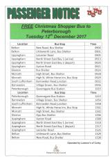 Free Shopping Bus to Peterborough - 12th December 2017